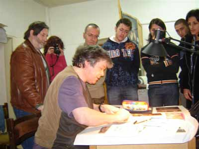 Barry demonstrating the Burin Engraving at the Art Academy in Sofia